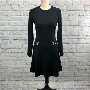 Michael Kors Fit & Flare Dress Gold Zipper Detail